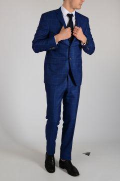 Checked Virgin wool Silk Blend Suit
