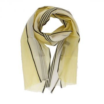 CC CORNELIANI Silk Blend Striped Scarf