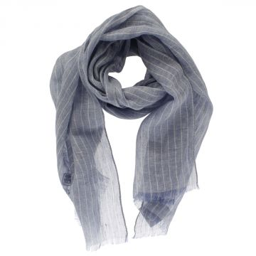 Striped Silk and Linen Blend Scarf