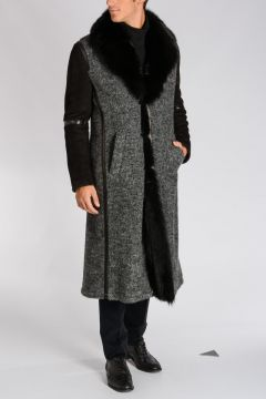 CORNELIANI ID Leather & Wool Coat with Fur Detail
