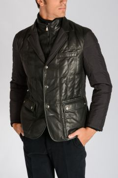 CORNELIANI ID Leather & Fabric Down Jacket