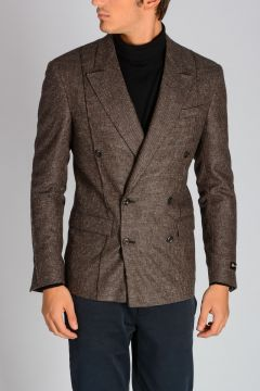 Virgin Wool Blend Checked Blazer