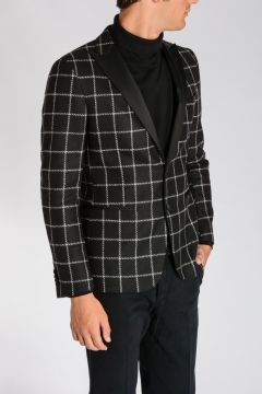 CC COLLECTION Cotton Virgin Wool Checked Blazer