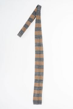 Knitter Tie Striped BEIGE GREY