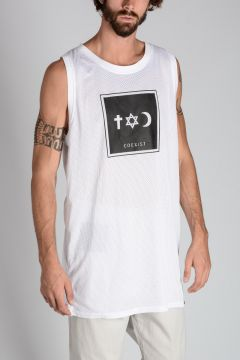 Tank Top in Mesh con Stampa