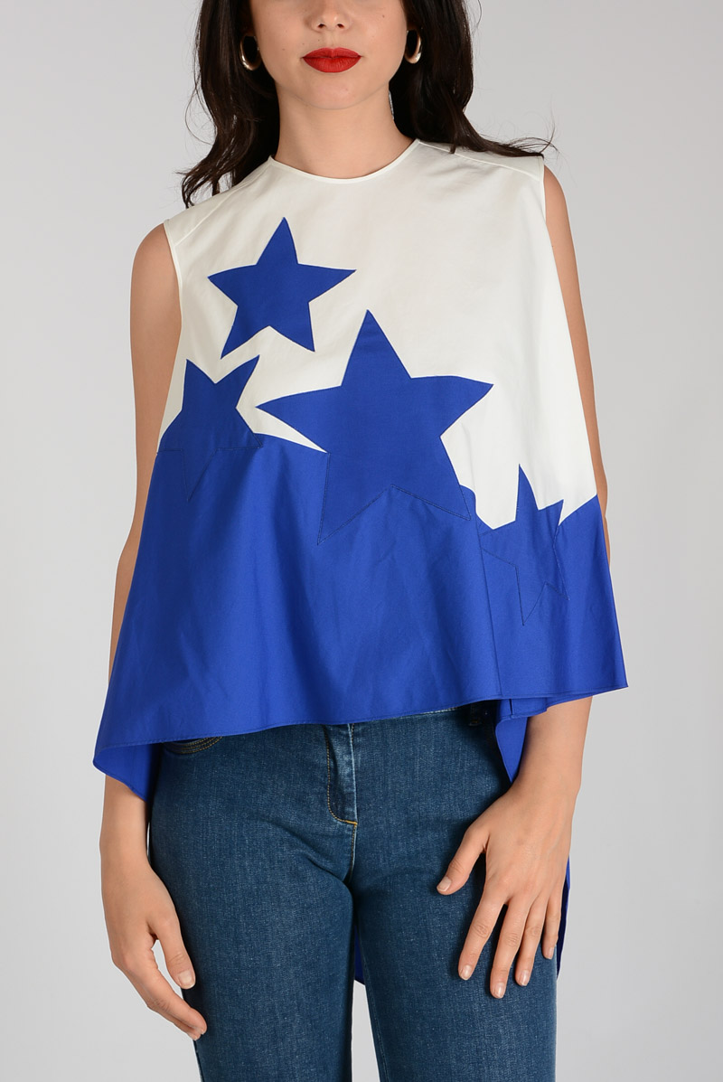 73abf07b90 DELPOZO Women Cotton Embroidered Star Top - Glamood Outlet