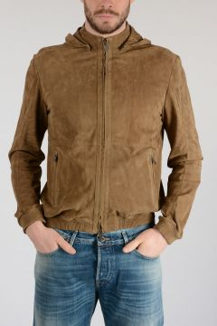 Suede Leather Hooded Jacket