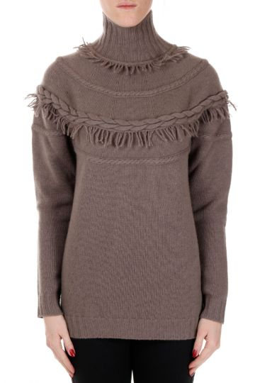 Funnel Neck Mixed Wool Sweater with Fringes