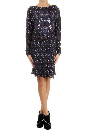 Geometric fantasy pattern long sleeves dress