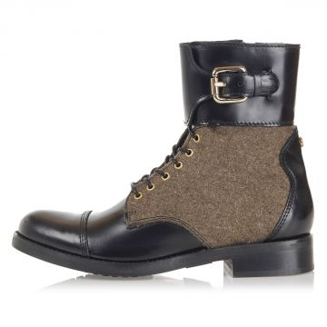 """BARTACK"" Leather and wool Ankle Boot"