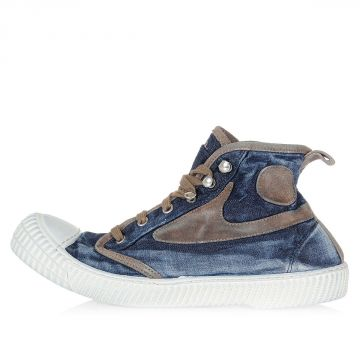 Denim and Leather DRAAGS54 High Sneakers