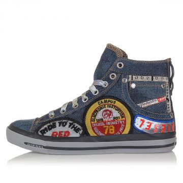 Denim REBOOT High Sneakers with Patches