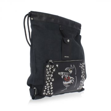 Zaino FIELD SACK in Denim e Pelle con borchie