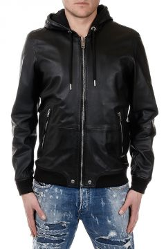 Leather Hooded L-AKURA Jacket