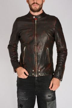 Leather EDGE Jacket Red/Black