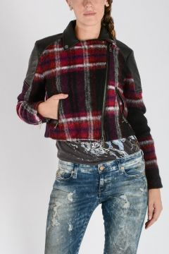 Wool Blend & Leather G-ERIAN Crop Biker Jacket