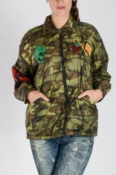 Embroidered Camouflage W-NEKOK Jacket