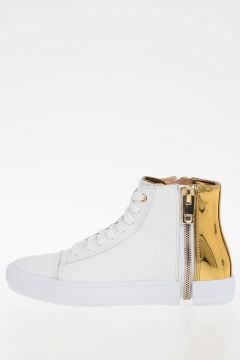 Leather S-NENTISH W  Sneakers With Gold Details