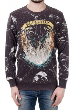 "S-UPRI FELPA ""Superior"" Print Cotton Sweatshirt"