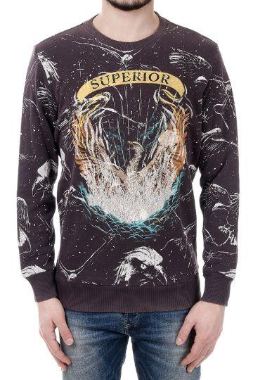"S-UPRI FELPA ""Superior"" Print Cotton Sweatshirt"