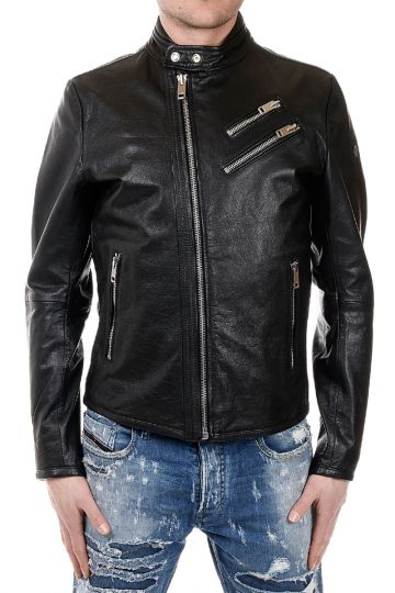 L-OYTON Leather Jacket with Zip Details