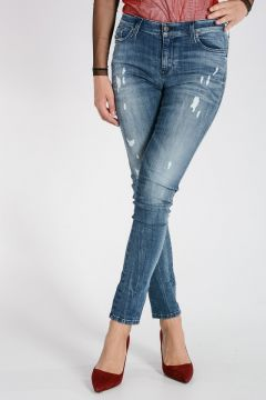 Jeans SKINZEE in Denim Stretch Destroyed 13 cm