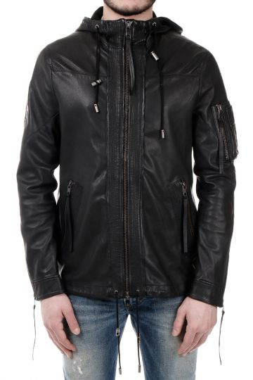 BLACK GOLD LIDENT Hooded Leather Jacket