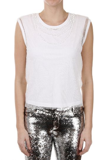 T-ELECTA Top with Woven and Beads Details