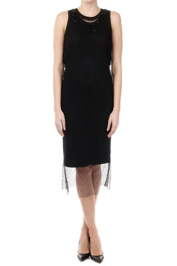 D-EMELINE Dress with Woven and Beads Details