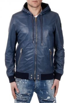 L-COLLINS Leather Hooded Jacket