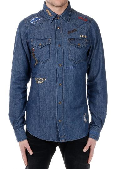 NEW-SONORA-RE Denim Embroidered Shirt