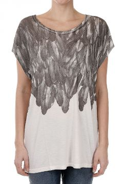 T-SERRA-M Feathers Printed T-Shirt