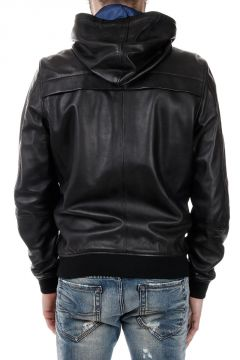 L-COLLINS Hooded Leather Jacket
