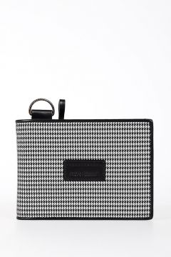 HOMME Houndstooth Leather Wallet