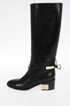 Leather Boots With Gold Details