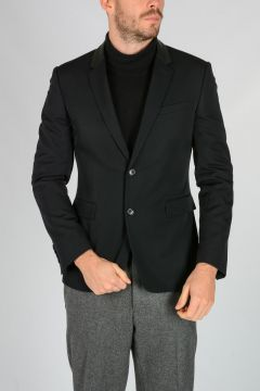 Virgin Wool Blazer with Leather Collar