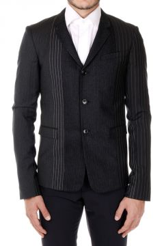 MULTIRAYUR Single-Breasted Striped Patchwork Blazer