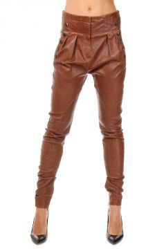 High Waisted Lamb Leather Trousers