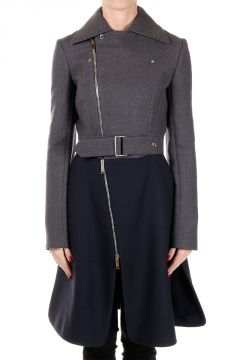 Two-tone Virgin Wool Biker Coat