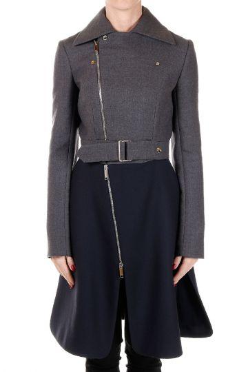 Two-tone Virgin Wool Biker Coat