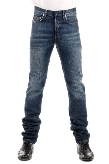 Jeans in Denim con Macchie di Vernice 18.5 cm