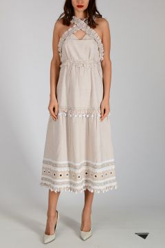 Cotton Embroidered Dress with Frill
