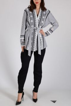 Cotton Shirt with Frill and Stud
