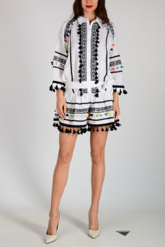 Embroidered Dress with Frill