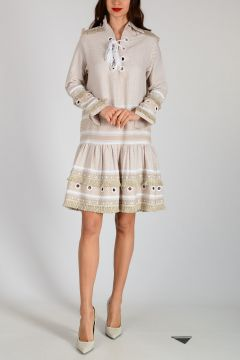 Tunic Dress with Frill and Stud