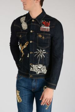 Stretch Cotton Pearl Embroidered Jacket