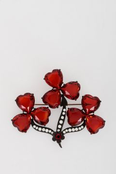 Metal and Crystal Brooch