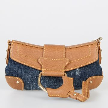 Leather & Denim Handbag