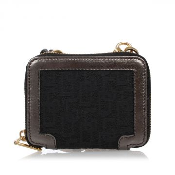 Logo Fabric and Metallic Leather Wallet
