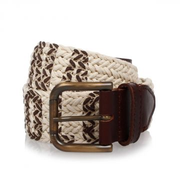 Leather and Braided Fabric Belt 45 mm